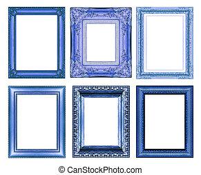set, di, vendemmia, blu, cornice, con, spazio bianco
