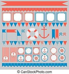 set, di, vendemmia, nautico, festa, elementi