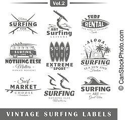 set, di, vendemmia, surfing, labels., vol.2