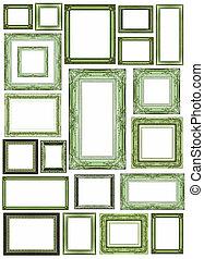 set, di, vendemmia, verde, cornice, con, spazio bianco