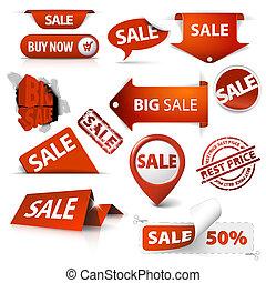 set, di, vendita, biglietti, etichette, francobolli,...