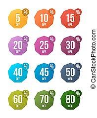 set, di, vendita, spento, adesivi, colorato, tesserati magnetici, etichetta, scontare, simbolo, vendita dettaglio, segno, prezzo