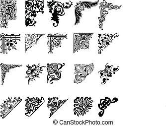 set, di, venti, colorare, corners., elementi, di, design.