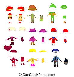 set, di, vestiti bambini, vettore, disegni elementi