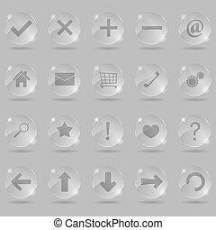 set, di, vetro, icone, vettore, eps10, illustrazione
