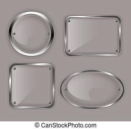 set, di, vetro, piastre, in, metallo, cornici