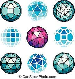 set, di, vettore, basso, poly, sferico, oggetti, 3d, geometrico, shapes., prospettiva, trigonometria, sfaccettatura, globi, creato, con, triangoli, squadre, e, pentagons.