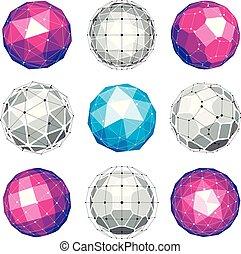 set, di, vettore, basso, poly, sferico, oggetti, con, collegato, linee punti, 3d, geometrico, wireframe, shapes., prospettiva, trigonometria, sfaccettatura, globi, creato, con, triangoli, squadre, e, pentagons.