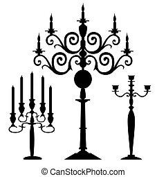 set, di, vettore, candelabri, silhouette