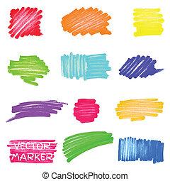 set, di, vettore, colorato, pennarello, macchie