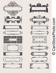 set, di, vettore, cornici, ornamento, elementi, in,...