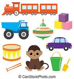 set, di, vettore, giocattoli, 2