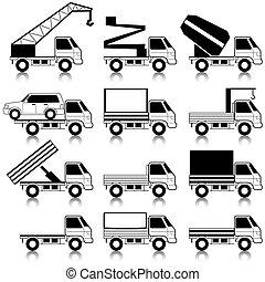 set, di, vettore, icone, -, trasporto, symbols., nero, su, white., automobili, vehicles., automobile, body.