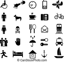 set, di, vettore, icone