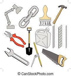 set, di, vettore, illustrazioni, di, differente, attrezzi