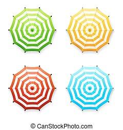 set, di, vettore, strisce, spiaggia, o, mercato, ombrelli, in, vibrante, colors:, rosso, blu, giallo verde