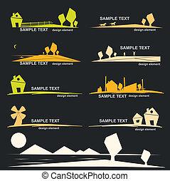 set, di, villaggio, disegni elementi