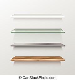 set, di, vuoto, legno, vetro, metallo, plastica, mensole