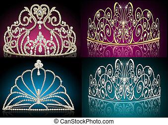 set diadems feminine wedding - illustration set diadems...