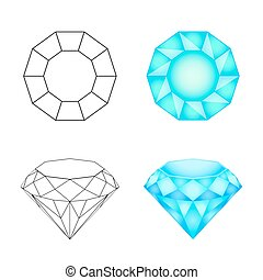 Set diamonds on a white background . Eps 10 Vector illustration