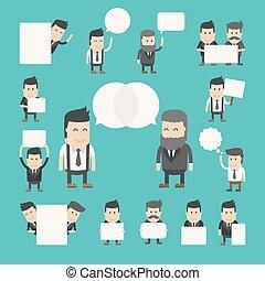 set, dibattito, conversazione, uomo affari, discutere