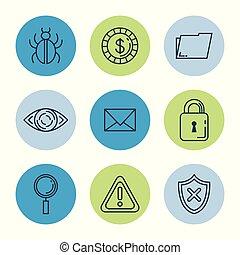 set, diefstal, identiteit, iconen