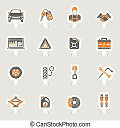 set, dienst, iconen, auto, sticker, vector