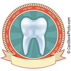 set., diente, etiqueta