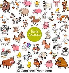 set, dier, boerderij, groot, karakters, spotprent