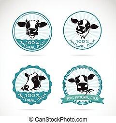 set, dieren, etiket, achtergrond, vector, melkinrichting, koien, witte , farm.
