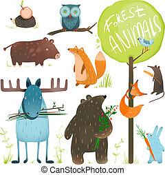 set, dieren, spotprent, bos