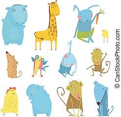 set, dieren, spotprent, illustratie