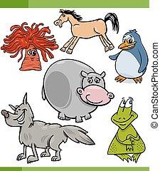 set, dieren, spotprent, karakters