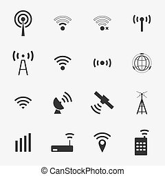 Set different black vector wireless and wifi icons for remote access and communication via radio waves. satellite communication and wireless transmission of information.