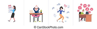 set different business concepts female businesspeople hardworking process concept various working situations horizontal flat full length