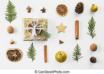 set different christmas decorations . High quality and resolution beautiful photo concept