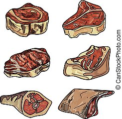 Set different cuts of meats.