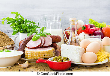 Set different foods healthy diet - Set of many different...
