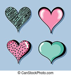 set different heart shapes symbol of love
