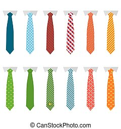 Set different ties isolated on white background. Colored tie for men. Vector