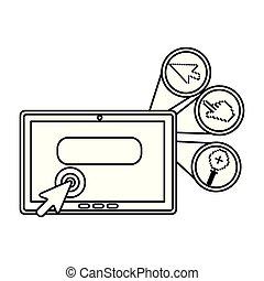 set, digitaal tablet, iconen