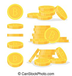 Set digital bitcoins flat style isolated on white background. Icon finance heap, gold coin pile. Golden money standing on stacked - vector illustration