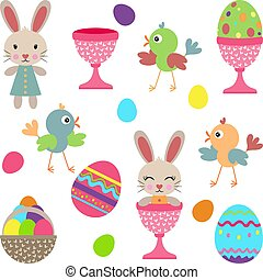 Set digital elements of easter with eggs birdies and bunnies