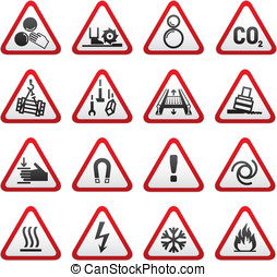 Set dimensional Warning Hazard Sign