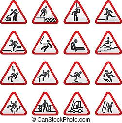 set, dimensionale, avvertimento, segno pericolo