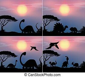 Set dinosaur in nature background