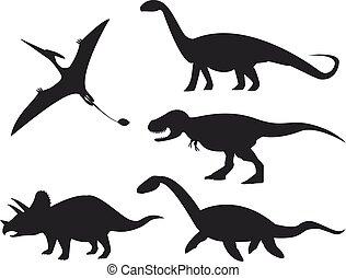 set, dinosauro, isolato, fondo., silhouette, bianco