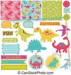 set, -, dinosauro, vettore, disegno, bambino, album, elementi
