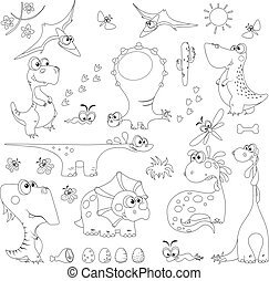 set dinosaurs outline for coloring