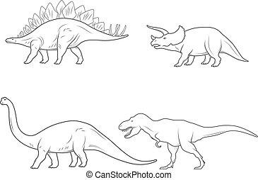 set, dinosaurussen, vrijstaand, illustratie, achtergrond., vector, witte